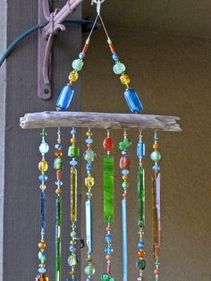 Stained Glass Wind Chime Glass Windchimes by JudyEvansCollection