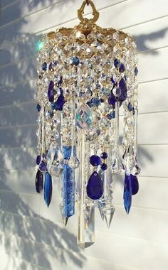 Blue and clear crystal windchime