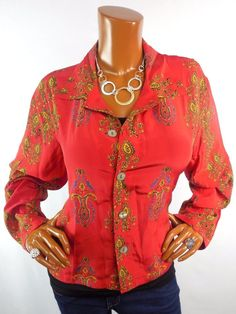 CHICO'S Sz 2 Top M L 100 % SILK Blouse Casual Shirt Red Print Button Down #Chicos #Blouse #Casual
