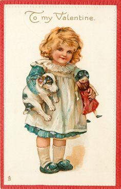 TO MY VALENTINE  girl carries doll & puppy under each arm