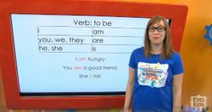 """Verb Video Lesson - Am, Are, Is - Teacher Robyn explains how to properly use the verb """"to be"""". For grade 3. #language #writing #grammar #grade3 #tvokids"""