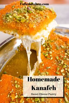 Lebanese Desserts, Lebanese Recipes, Turkish Recipes, Kunafa Dough Recipe, Easy Knafeh Recipe, Eid Dessert Recipes, Sweets Recipes, Granola, Kitchen Recipes