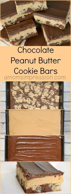 Chocolate peanut butter cookie-bar recipe. These easy to make cookie bars will be the hit of any dessert party with the classic combo of chocolate and peanut butter.