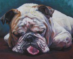dog art English Bulldog CANVAS print of LA Shepard by TheDogLover, $19.99