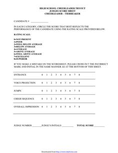 Cheerleading Tryout Score Sheet  Cheerleading Tryouts Scores And