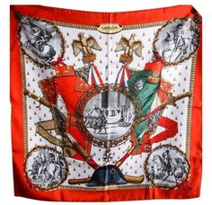 83c57e4641a Hermes Scarf Shawl 100% Silk Carre 90 NAPOLEON AUTHENTIC  Hermes  Scarf  Silk Scarves