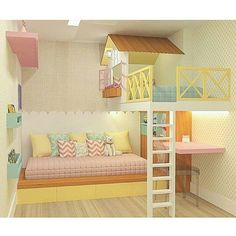 Sweet little girls bedroom or playroom. Bed For Girls Room, Cool Kids Bedrooms, Kids Bedroom Designs, Cute Bedroom Ideas, Cute Room Decor, Room Ideas Bedroom, Kids Room Design, Awesome Bedrooms, Cool Rooms