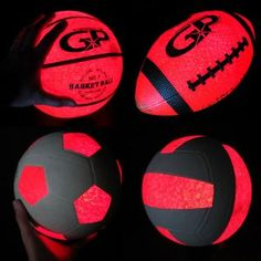 - Light Up Sports Ball Combo Package - 4 Ball Light Up Glowing Sports Package - Soccer Ball, Football, Basketball & Volleyball - Push Button Activation! Bright Orange Glow Effect! - No Timers or Hit-to-Activate - Turn it on and it Stays On! Badminton Birdie, Led Hula Hoop, Soccer Ball, Basketball, Bottle Cap Projects, Glow Effect, Ball Lights, Glow Sticks, Packing Light