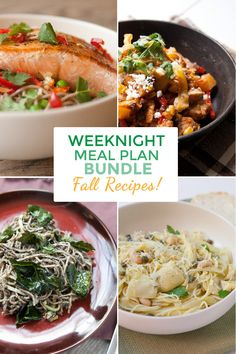 """Ready for Fall cooking? This meal plan bundle includes EIGHT Full weekly meal plans plus shopping lists! Recipes include vegetarian alternatives and helpful tips (plus pretty photos)! Get a Pinterest ONLY 25% discount by using """"pinit"""" during checkout until 11-30-2015!"""