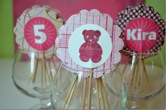 Build a Bear Birthday Party: pink cupcake toppers