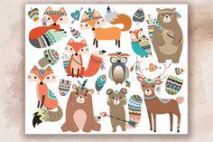 Woodland Tribal Animals V.2 Clipart by Kenna Sato Designs on @creativemarket