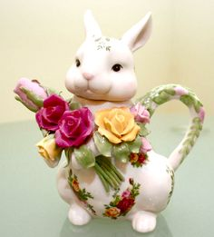 Royal Albert Old country rose bunny tea pot.  I have this and love it!