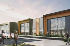 An artist's impression of the St James Retail Park on the former site of Norton College Mall Facade, Retail Facade, Shop Facade, Building Facade, Retail Architecture, Commercial Architecture, Architecture Design, Mall Design, Retail Design