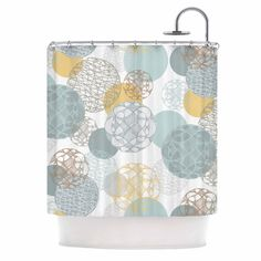 "Maike Thoma ""Floating Circles Design"" White Blue Shower Curtain"