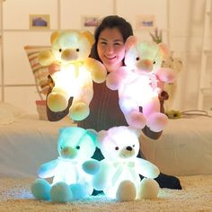 Stuffed & Plush Animals Trend Mark Kawaii Luminous Pillow Colorful Glowing Bear Heart Led Pillow Light Star Children Stuffed Animals Toy Christmas Gifts For Girls Clear And Distinctive