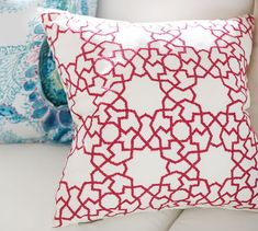 Astrid Trellis Embroidered Indoor/Outdoor Pillow
