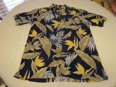 Mens Nautica silk tropical L short sleeve button up shirt casual navy blue EUC…