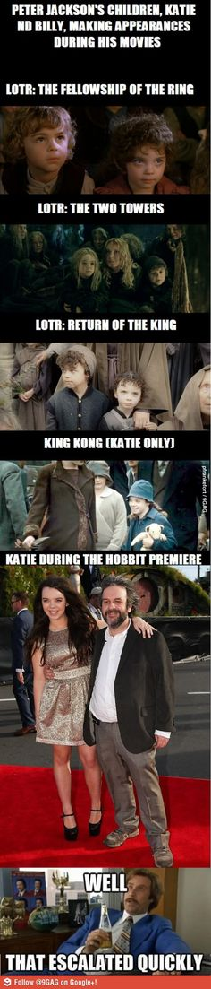 Peter Jackson's kids throughout the years @Christina Bryant - we were right, it was the same kids at Helms Deep as the Hobbit kids :)