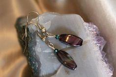 Amethyst Swirl & Emerald Green Swarovski Crystal Earrings