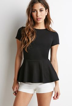 Pleated Peplum Top | FOREVER21 - 2000114771 Top for MSND Fairy. Short shorts with tights underneath.