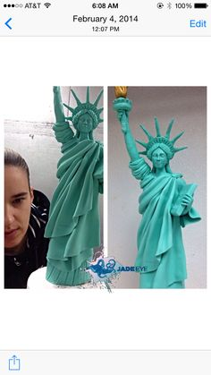 Modeling chocolate Statue of Liberty Cake Topper Tutorial, Cake Toppers, Nyc Cake, New York Cake, Fondant, American Party, Educational Crafts, Cake Making, Modeling Chocolate