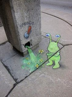 street art. little green monster spring.#David Zinn #graffiti
