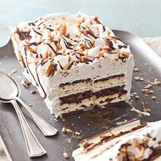 This Turtle Ice Cream Sandwich Cake is a cool and creamy combination of caramel, chocolate, and chopped pecans.     Save Recipe Print  Turtle Ice Cream Sandwich Cake