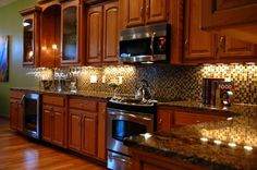 Under cabinet lighting makes all the difference! We already bought the lights for this just have to install them!