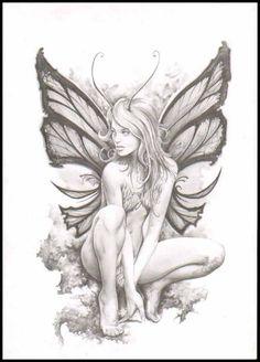 Fairy Fairy Sketch, Fairy Drawings, Badass Drawings, Gnome, Fairy Art, Fantasy Characters, Pixie Tattoo, Fairies Tattoo, Fairy Tattoo Designs