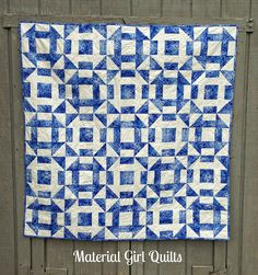 Blue and white Churn Dash quilt by Amanda Castor at Material Girl Quilts