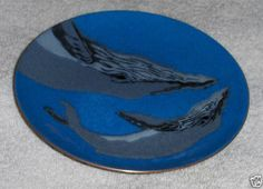 Vtg Enamel On Copper Dolphin Dish Annemarie Davidson Nautical Shark Whale Plate