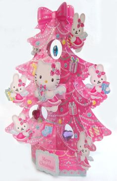 Christmas Greeting Card Pop Up 3D Decorative Angel Hello Kitty Christmas Tree Greeting Card - PT01