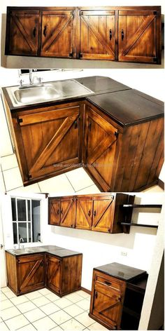 Check out this another wonderful pallet idea dramatically introduced in the image below. The idea is artistically crafted to make an awareness in people that how they can use the useless or small corners of his kitchen beautifully. This pallet kitchen design is simply heart-touching.