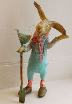 Easter display decoration farmer bunny with bird ti adoro