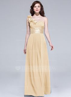 A-Line/Princess One-Shoulder Floor-Length Chiffon Charmeuse Bridesmaid Dress With Ruffle Flower(s) (007037284)
