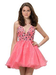9f3558304baa Snowskite Women s Sexy V-neck Short Organza Beaded Homecoming Dress at  Amazon Women s Clothing store