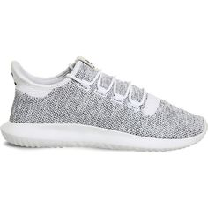 Adidas Tubular Shadow knitted trainers ($79) ❤ liked on Polyvore featuring shoes, sneakers, adidas trainers, cushioned shoes, retro sneakers, black and white sneakers and black white sneakers