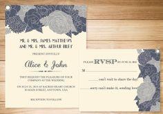 Beautiful Custom Color Flower Wedding Invitation and RSVP <3