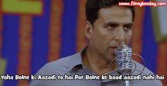 Akshay Kumar Dialogue : Yaha Bolne ki Azadi to hai par Bolne ke baad azadi nahi hai.. Film : Khata Meetha Bollywood Dialogues Meme