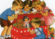 Vintage Norcross Christmas Greeting Card Die Cut Children with Toy Box EB6890 | eBay