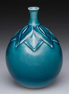 LYNNE MEADE PORCELAIN -  Blue Persimmon Bottle