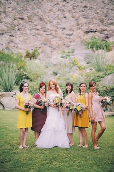 Katie Leclerc and Brian Habecost Wedding In Palm Springs - Bride and bridesmaids Summer Wedding Colors, Yellow Wedding, Mustard Wedding, Mismatched Bridesmaid Dresses, Wedding Dresses, Bridesmaids, Casual Bridesmaid, Katie Leclerc, Winter Wedding Destinations