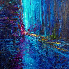 Waterfall Street, Iris Scott. 30 x 30 oil finger painting.