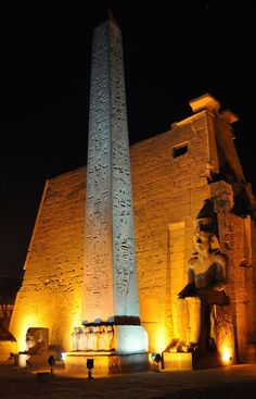 Luxor Temple, Luxor | Luxor Temple is a large Ancient Egyptian temple complex located on the east bank of the River Nile in the city today known as Luxor (ancient Thebes) and was founded in 1400 BC.  In front of the Great Pylon of Ramses II, there once were 2 obelisks. Only one of them remains standing! The other was transported, in 1819, to La Place de le Concorde in Paris, as a gift to King Philip Louis of France by Mohamed Ali (who ruled Egypt 1805-1850 A.D), after he was given a French…