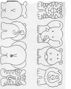 Elementary School Worksheets Complete and coloring para niños preescolar, primaria e inicial.Activities for preschool, primary and initial children. Complete and Coloring infantil Animales de la selva Too cute! Applique Patterns, Quilt Patterns, Felt Crafts Patterns, Doll Patterns, Motifs D'appliques, Quilting, Busy Book, Exercise For Kids, Animal Crafts