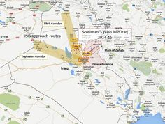 The Iranian push through Diyala Province (2014-15) is to the northeast of Baghdad.  To the west, see the ISIS corridors, anchored in Syria.  See map 4 at the test links for close-up of Diyala-Tikrit. (Google map; author annotation)