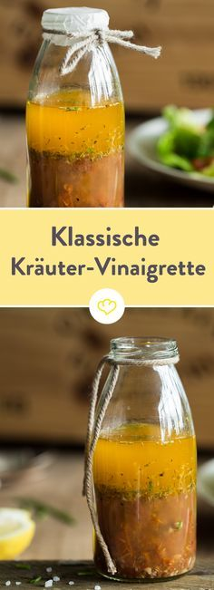 Der Klassiker, der zu allen leichten Blattsalaten passt: Eine Vinaigrette mit reichlich Oregano, Basilikum und Minze. Im Grunde kannst du aber nach Lust und Laune nehmen, was dein Kräuterbeet so hergibt. Und wenn frische Kräuter gerade aus sind, kannst du auch ruhig zur getrockneten Variante greifen.