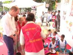 Prince William and Kate play cricket with Mumbai kids