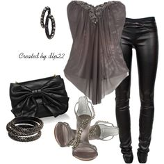 Black and Gray, created by dlp22 on Polyvore- would change the shoes but besides that love it