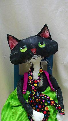 Original Black and White Cat cloth doll great fabrics xx